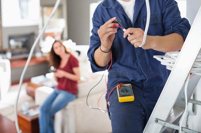 electrician working in a house in Sutton in Ashfield